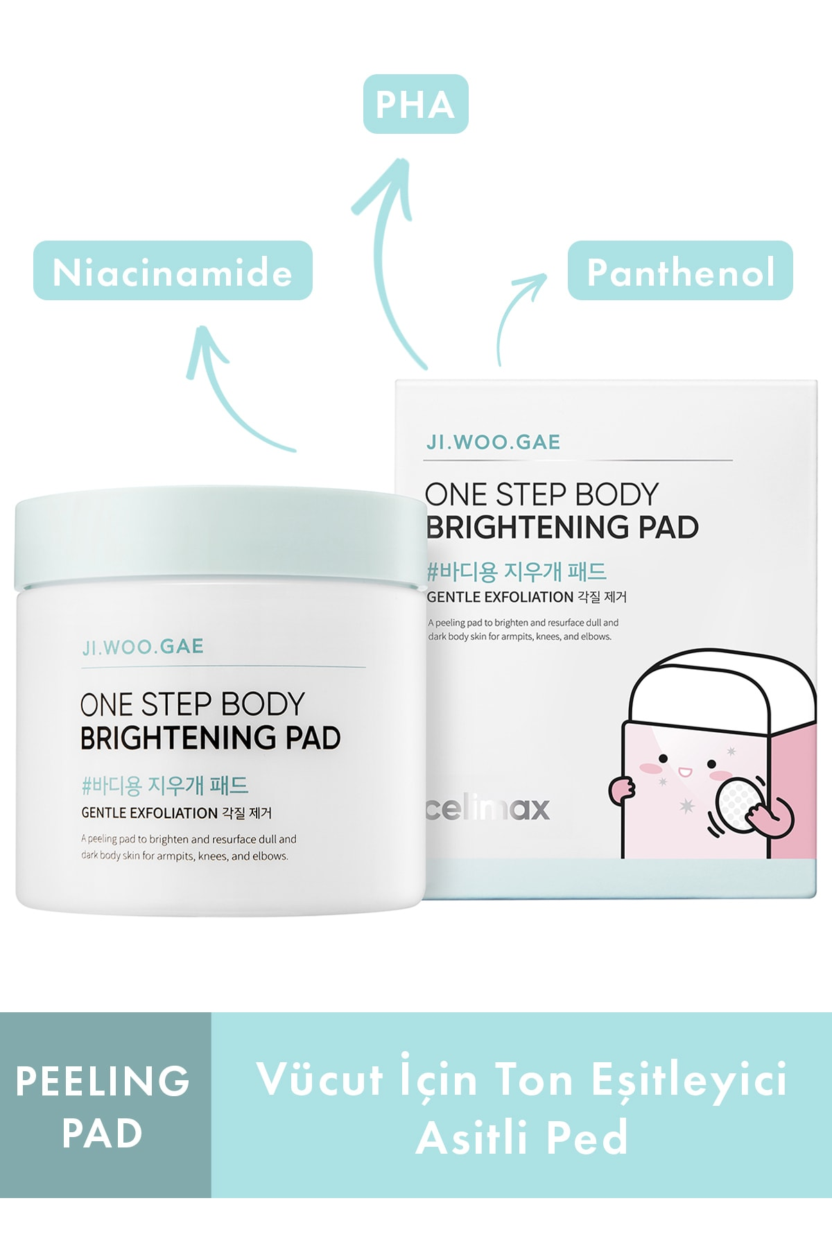 One Step Body Brightening Pad - Renk Açıcı, Parlatıcı Pad Toner (60 Pads / 110ml)