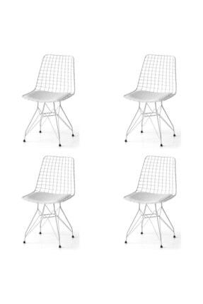SANDALYENBURADA Tel Sandalye-beyaz--4 Lü Fiyattır--cafe Sandalye-mutfak Sandalye-bahçe Sandalye Minder Siyah 0