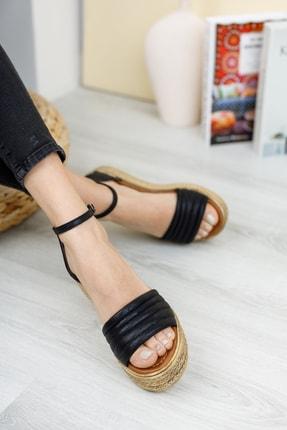 Broow Kadın Siyah Dolgu Topuk Sandalet 1