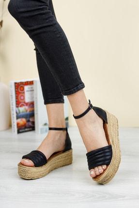 Broow Kadın Siyah Dolgu Topuk Sandalet 2