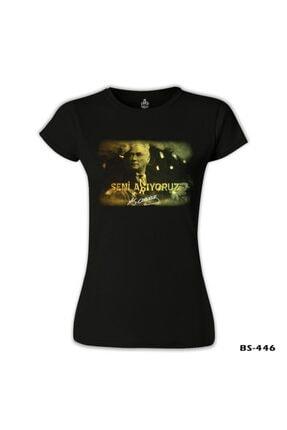 Lord T-Shirt Kadın Siyah Atatürk Tshirt 1
