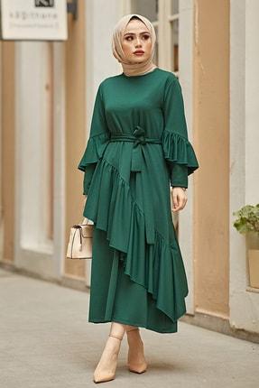 Kadın Zümrüt Yeşil Fırfır Detaylı Dökümlü Elbise 5020