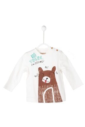 تصویر از Erkek Bebek Ekru Renkli Baskılı T-Shirt  bk 114667