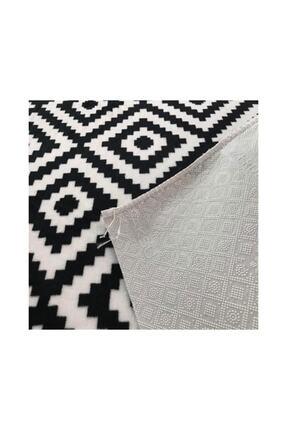 Merinos Aksu Piramit Desen Siyah Beyaz Renk Kaymaz Taban Halı Yolluk 1