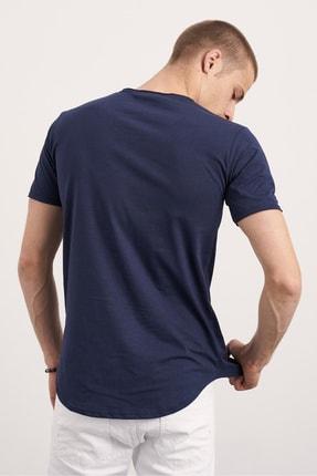 Tarz Cool Erkek Lacivert Pis Yaka Salaş T-shirt 2