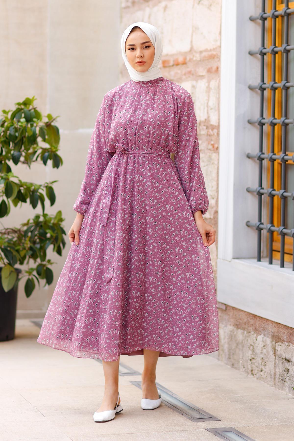 meqlife Kadın Flower 2021 New Season Dress Elbise