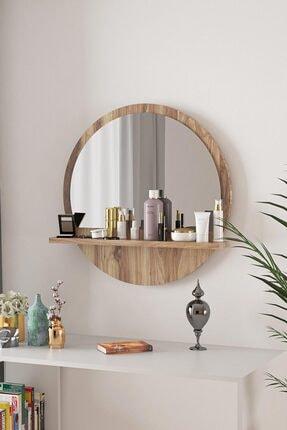 bluecape Yuvarlak Ceviz Raflı 45cm Aynalı Dresuar Koridor Konsol Duvar Salon Mutfak Banyo Ofis Yatak Odası 1