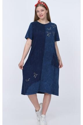 ZEYNEBİN DOLABI Kadın Mavi Yıkamalı Viskon Elbise 1