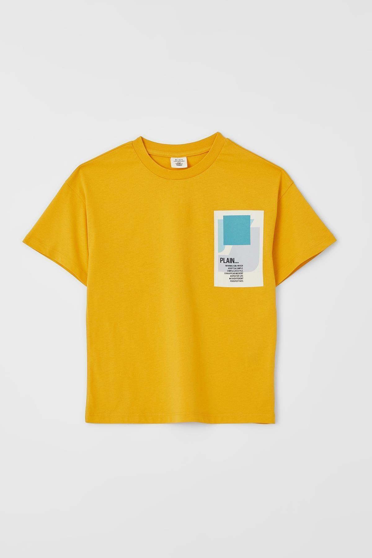 Erkek Çocuk Oversize Fit Slogan Baskılı Kısa Kollu Tişört