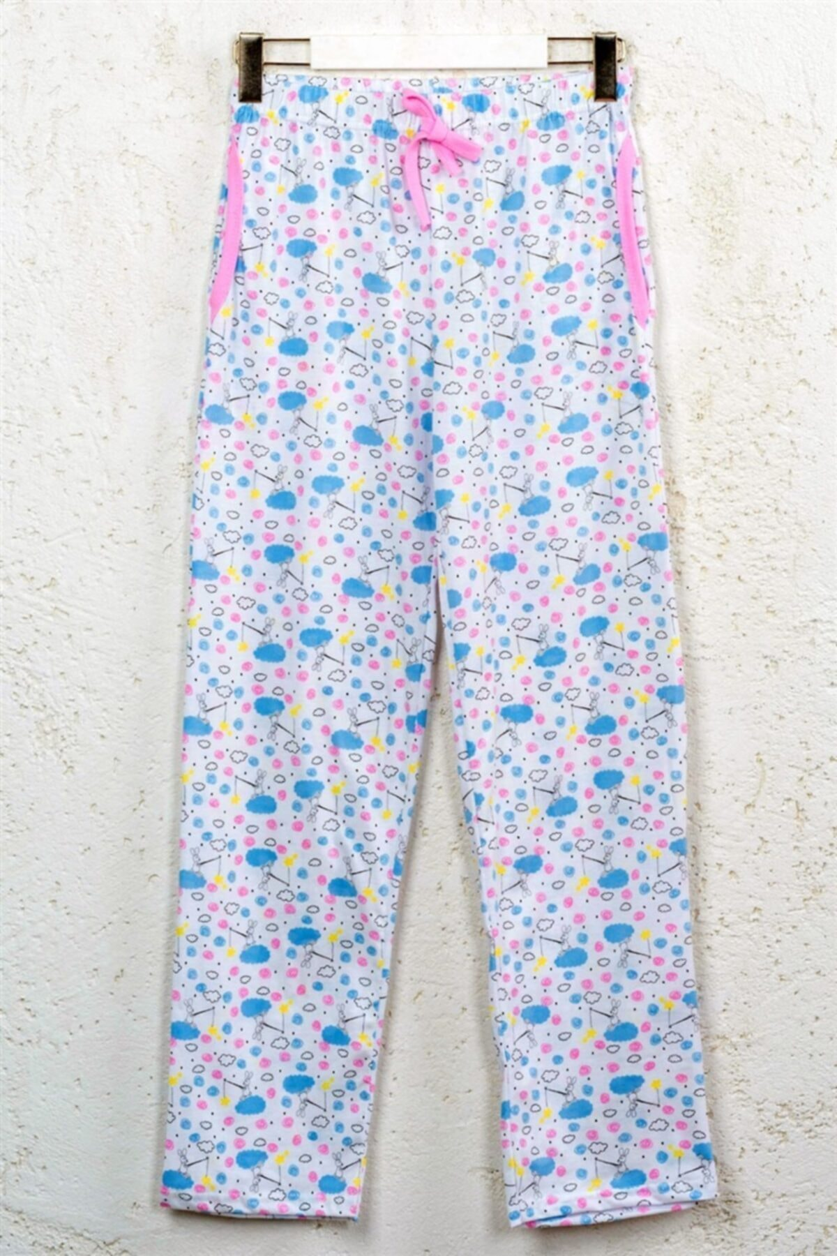 Kadın Pamuklu Beyaz Desenli Cepli Ev Giyim Rahat Pijama Altı