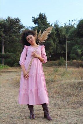 Kadın Uzun Pembe Katlı Elbise PMBCKT00002930019