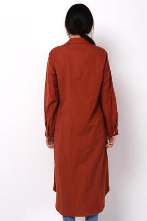 Nefise Kadın Kiremit Asimetrik Gömlek Elbise 1