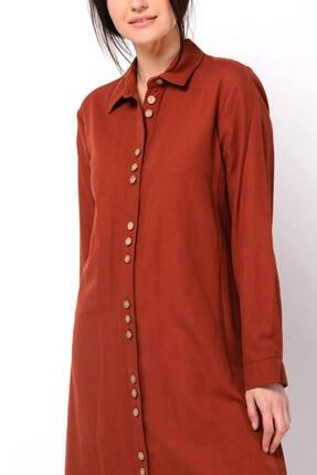 Nefise Kadın Kiremit Asimetrik Gömlek Elbise 2