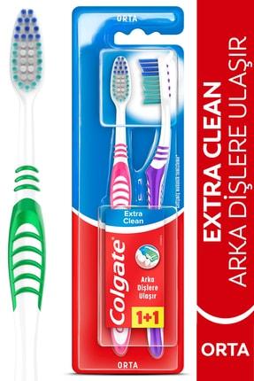 Colgate Extra Clean Dil Temizleyicili Arka Dişlere Uzanan Orta Diş Fırçası 1+1 0