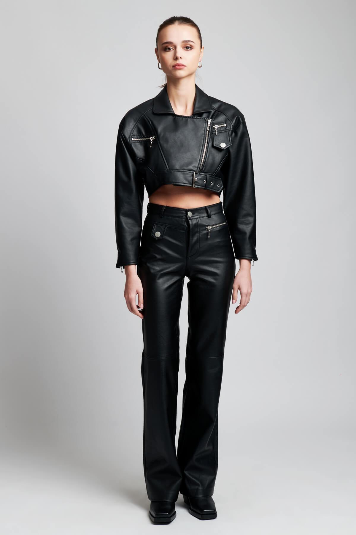 Kadın Siyah Deri Lauren Pantolon