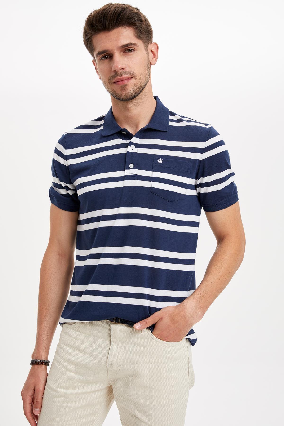 Erkek İndigo Regular Fit Polo Yaka Çizgili Kısa Kollu Tişört