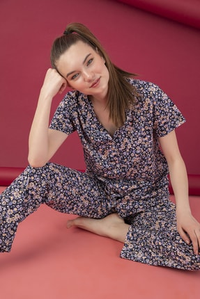 تصویر از Kadın mOR Pamuklu Düğmeli Pijama Takım