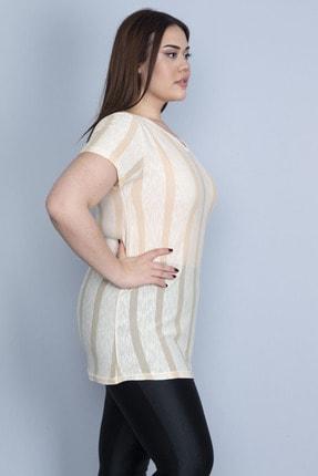Şans Kadın Bej İnce Viskon V Yakalı Çizgili Bluz 65N25936 1