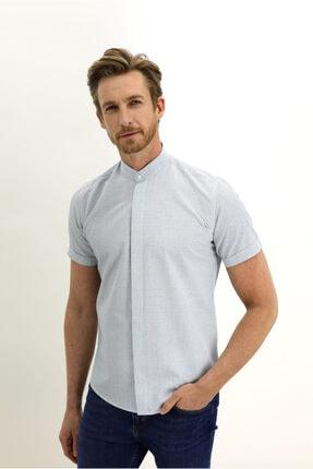 Kiğılı Kısa Kol Slim Fit Desenli Hakim Yaka Gömlek 1