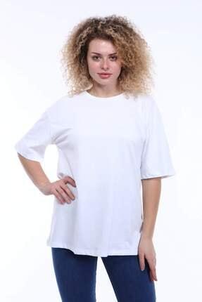 Picture of Kadın Beyaz Büyük Beden Yuvarlak Yaka T-shirt