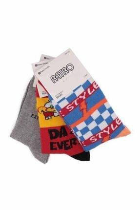Desenli 3'lü Çorap Seti resmi