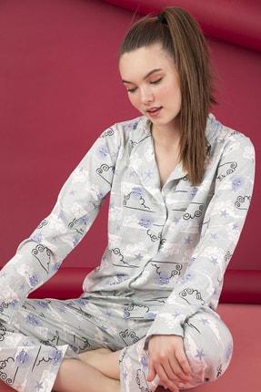 تصویر از Kadın Gri Pamuklu Düğmeli Pijama Takım
