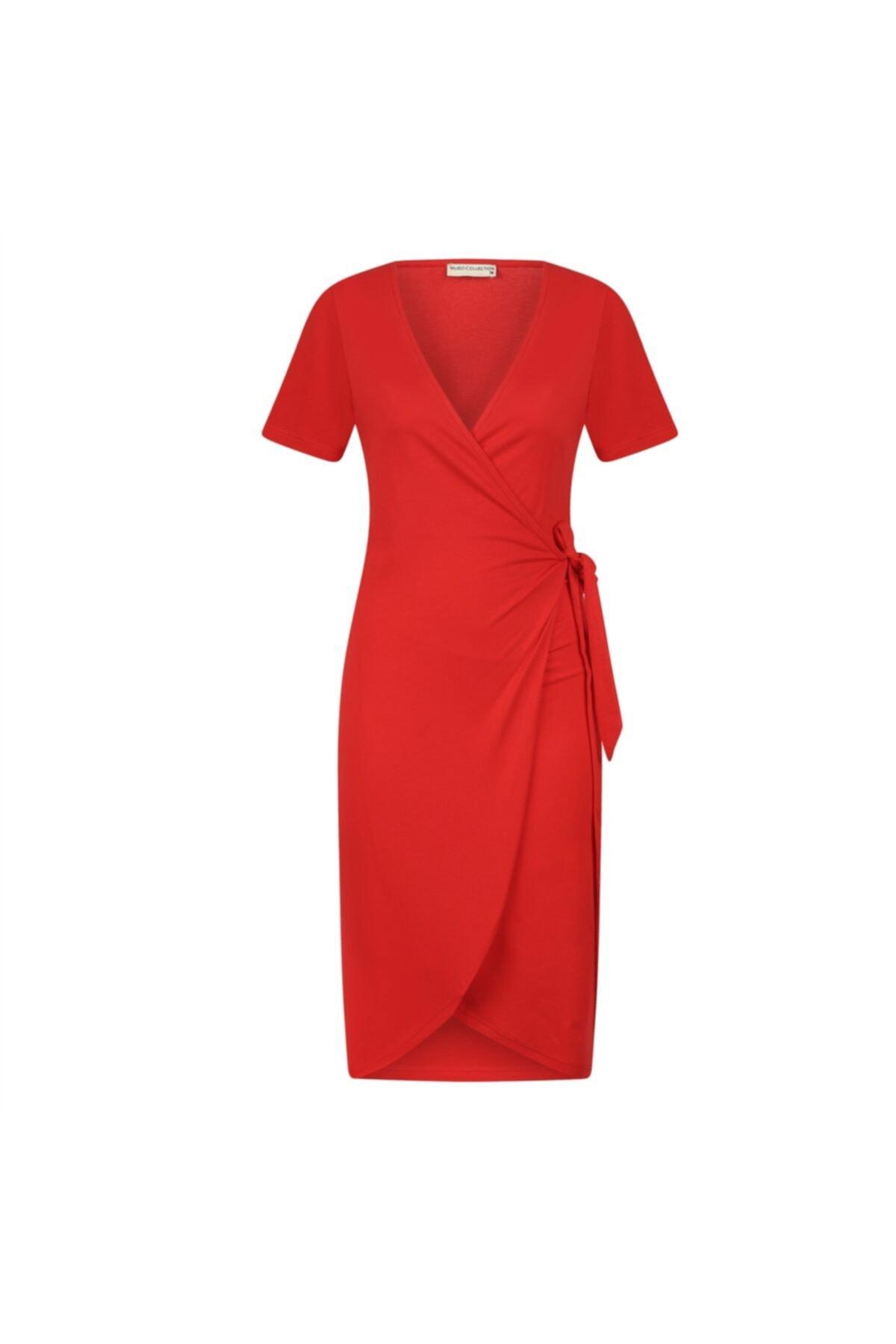 V Yaka Anvelop Pamuk Midi Elbise