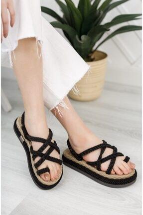 Moda Değirmeni Kadın Siyah Parmak Arası Sandalet 2