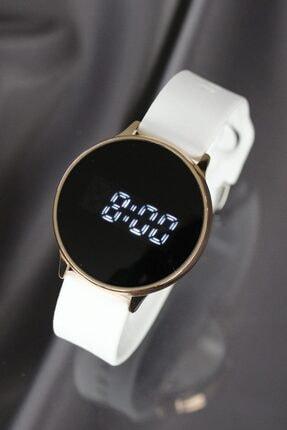 Beyaz Silikon Kordonlu Dokunmatik Led Ekran Erkek Saat resmi