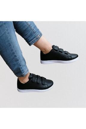 bi dünya ayakkabım Unisex Siyah Cırtlı Günlük Spor Ayakkabı 0