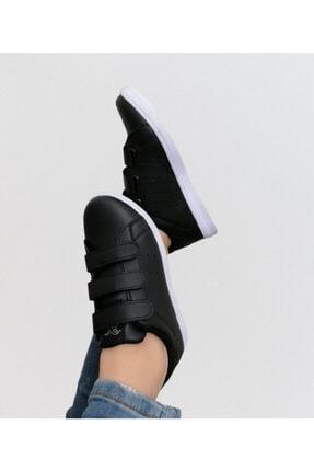 bi dünya ayakkabım Unisex Siyah Cırtlı Günlük Spor Ayakkabı 1