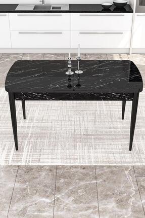 Canisa Concept Açılabilir Yemek Masası Takımı Siyah Mermer Desen Masa 4 Adet Sandalye 3