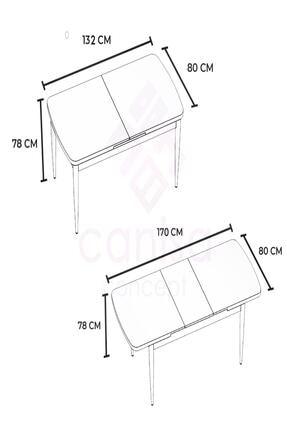 Canisa Concept Açılabilir Yemek Masası Takımı Siyah Mermer Desen Masa 4 Adet Sandalye 4