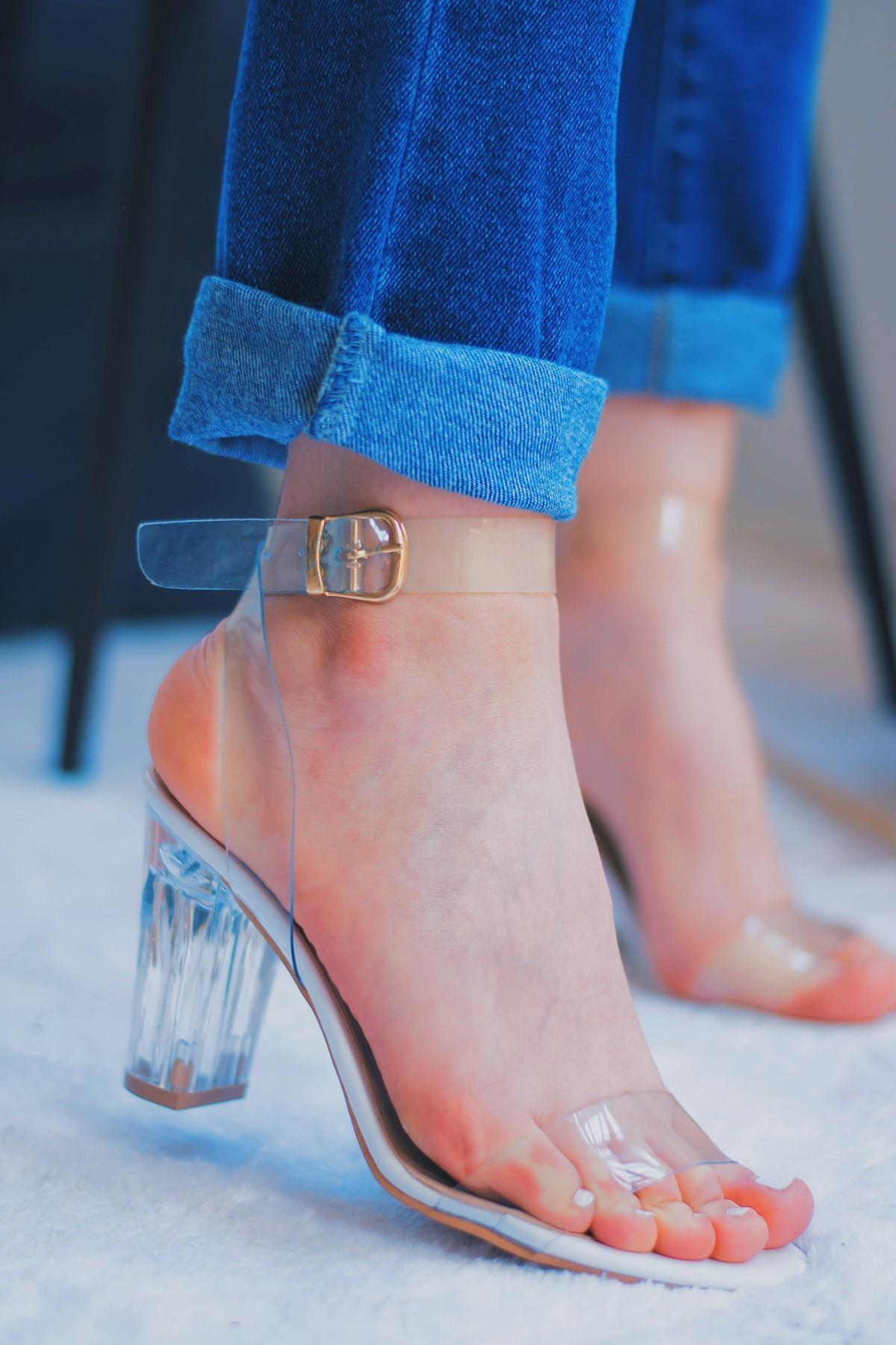 Havre Beyaz Kadın Şeffaf Topuklu Ayakkabı