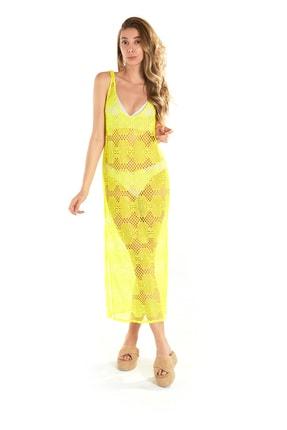 Hapuna Sarı Plaj Elbisesi - Deniz Elbisesi, Plaj Giyim Modeli ING2118122021