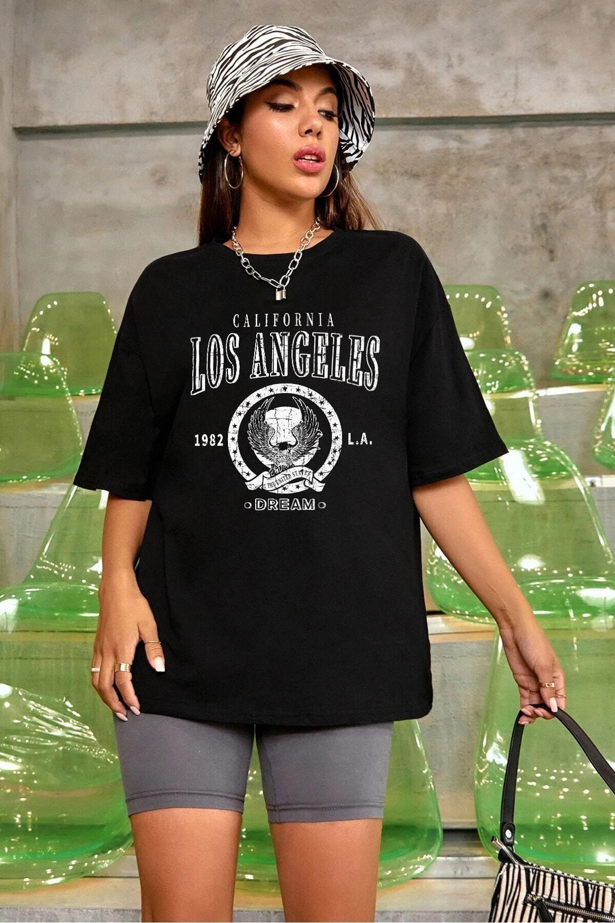 Blackjackgiyim Kadın Siyah Oversize Los Angeles Baskılı T-shirt
