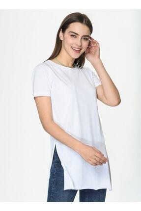 IŞILDA Kadın Beyaz Yanları Yırtmaçlı Kısa Kol Basic Tshirt 2