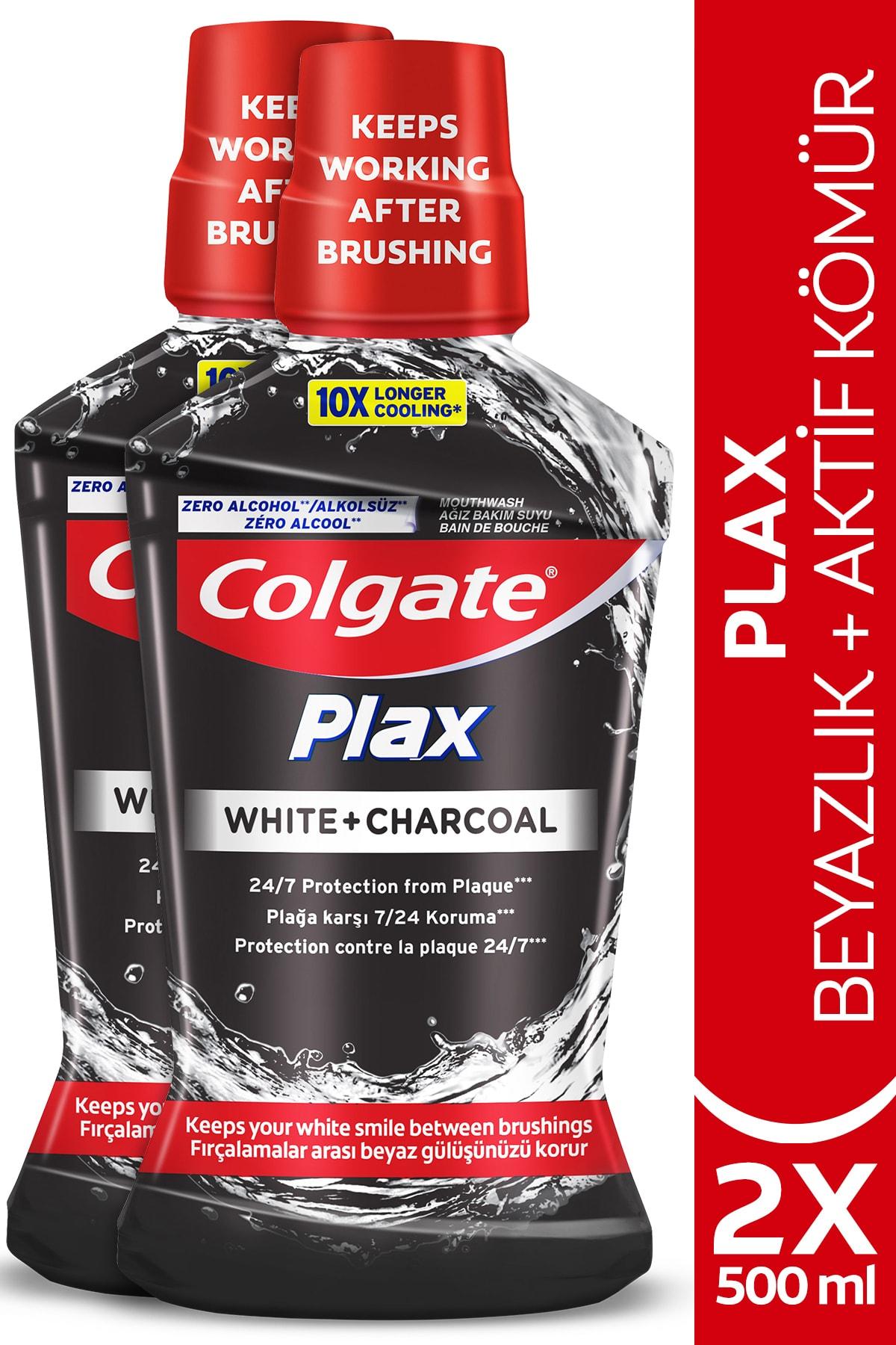 Plax Beyazlık + Aktif Kömür Beyazlatıcı Ağız Bakım Suyu 500 Ml X 2 Adet