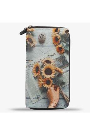 Unisex Sunset Flower Ayçiçek Baskılı Cep Telefonu Bölmeli Hakiki Deri Cüzdan 3016-T-01-BSK-FLW