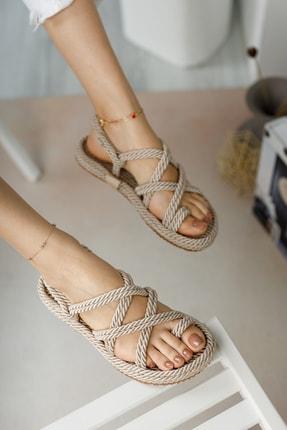 meyra'nın ayakkabıları Halat Sandalet Krem 1