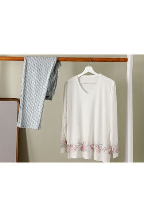 English Home Natural Flower Viskon Pijama Takımı Mint - Beyaz 0