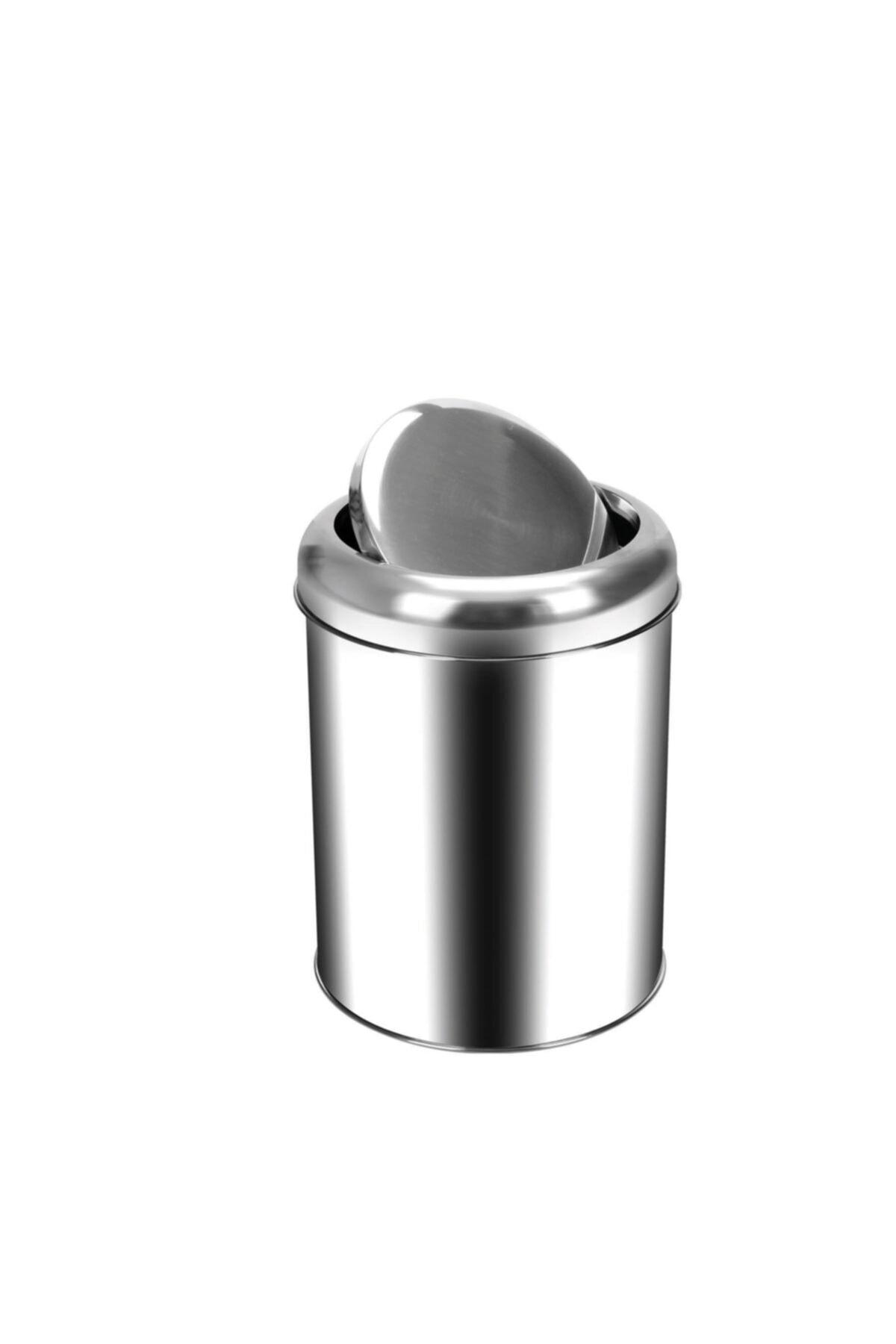 Krom Pratik Kapaklı Çöp Kovası 5 Lt.