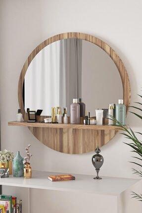 bluecape Yuvarlak Ceviz 60cm Aynalı Dresuar Hol Koridor Konsol Duvar Salon Mutfak Banyo Ofis Çocuk Yatak Oda 1