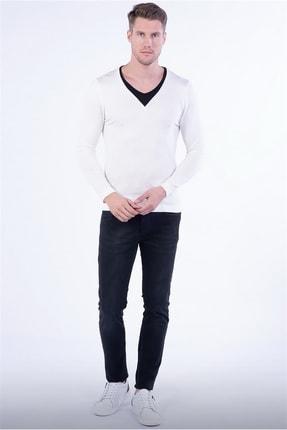 Efor TR 791 Slim Fit Beyaz V Yaka Triko 0