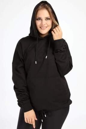 Picture of Kadın Siyah Spor Giyim Kapüşonlu Üst Sweat 2546