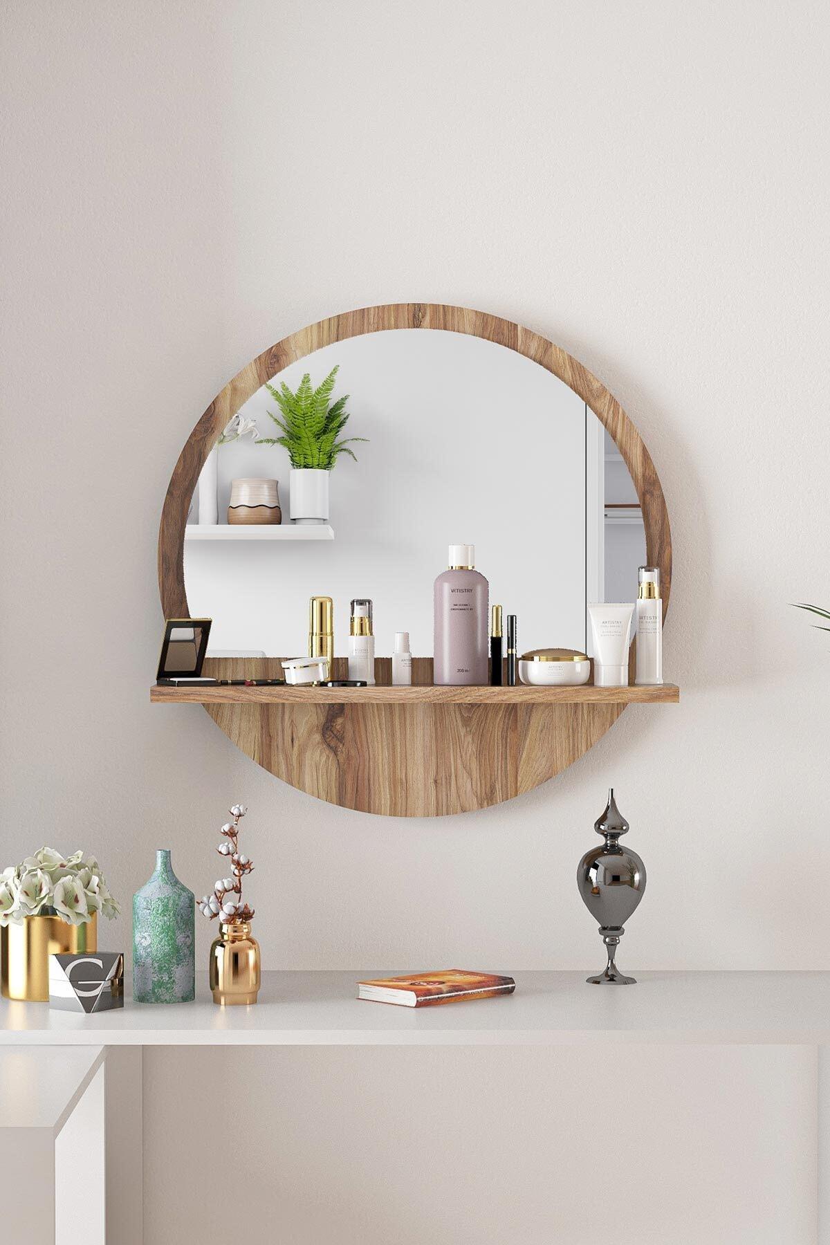 Yuvarlak Ceviz Raflı 45cm Ayna Koridor Dresuar Konsol Duvar Salon Mutfak Banyo Ofis Çocuk Yatak Oda