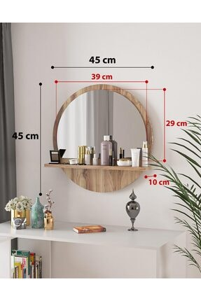bluecape Yuvarlak Ceviz Raflı 45cm Aynalı Dresuar Koridor Konsol Duvar Salon Mutfak Banyo Ofis Yatak Odası 3
