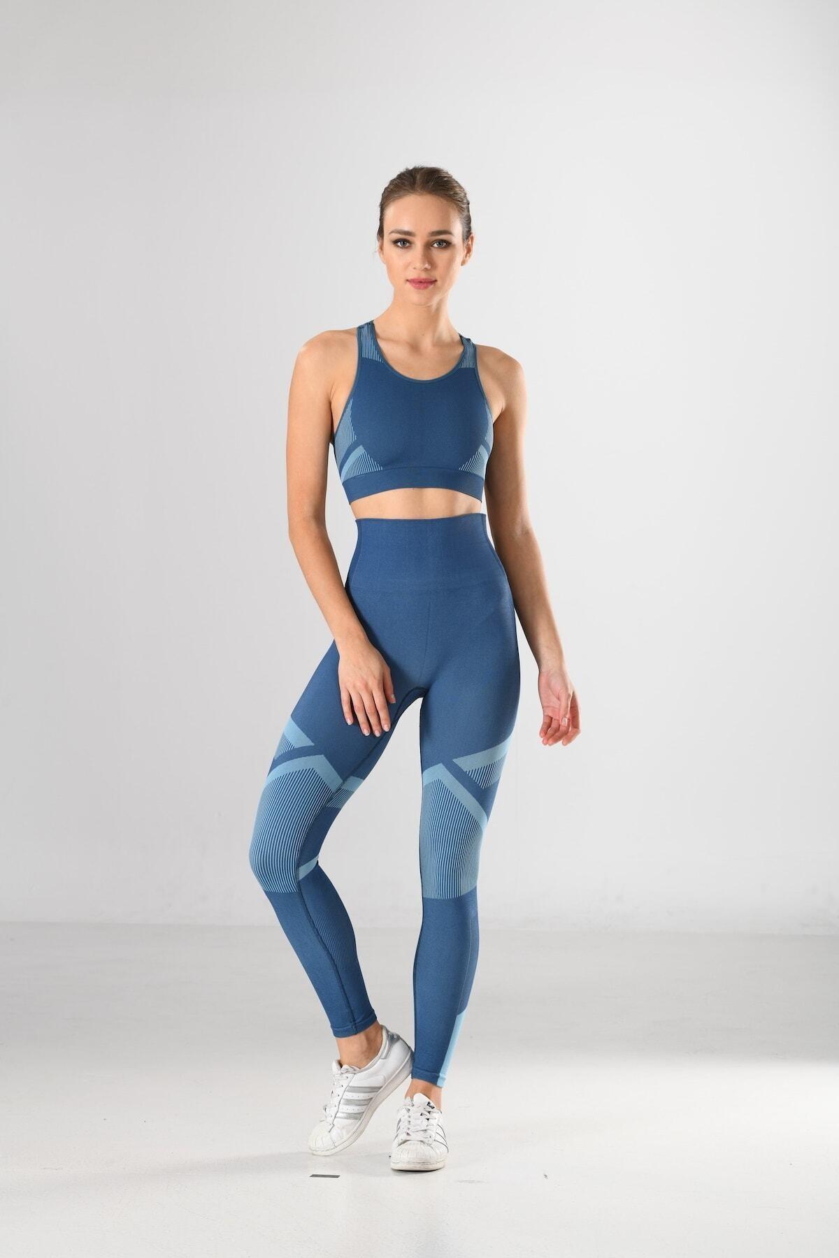 Miss Fit Kadın Takım Mavi Dikişsiz Kalın Askılı Balensiz Desenli Büstiyer Ve Tayt Takımı Yüksek Bel