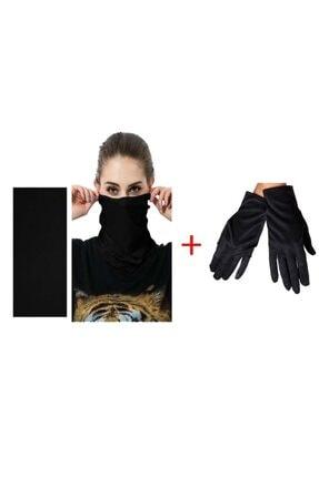 Siyah Baf Bandana Maske Ve Eldiven Seti 7488756