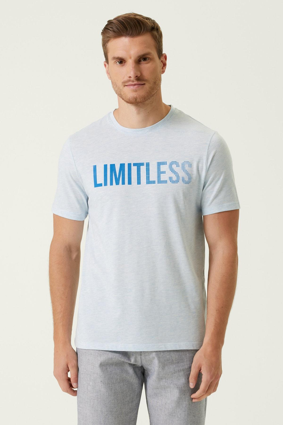 Erkek Slim Fit Mavi Melanj Baskılı T-shirt 1079837
